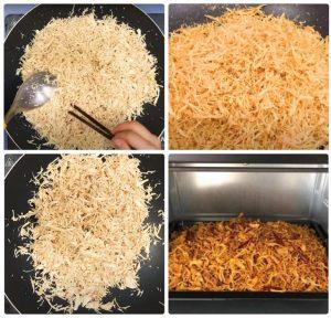 Rang ruốc thịt gà bằng chảo hoặc có thể dùng lò nướng để sấy cho ruốc khô.