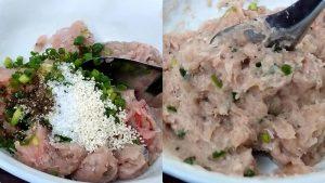 Trộn gia vị vào thịt cá thát lát đã xay nhuyễn.