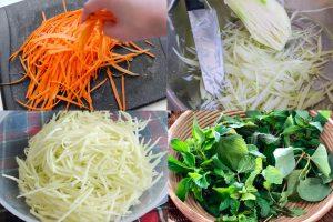 Bào các loại rau củ và sơ chế rau thơm để làm nộm.